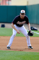 First baseman Freddie Freeman (5) of the Atlanta Braves works out before a Spring Training game against the New York Yankees on Wednesday, March 18, 2015, at Champion Stadium at the ESPN Wide World of Sports Complex in Lake Buena Vista, Florida. The Yankees won, 12-5. (Tom Priddy/Four Seam Images)