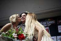 podium kiss for race winner Dylan Groenewegen (NLD/LottoNL-Jumbo)<br /> <br /> Heistse Pijl 2016
