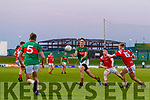 Colin McGillycuddy, Mid Kerry in action against Mark Ryan  and Evan Cronin, East Kerry during the Kerry County Senior Football Championship Final match between East Kerry and Mid Kerry at Austin Stack Park in Tralee on Saturday night.