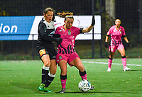 Aalst's Valentine Hannecart pictured in a duel with Chrystal Lermusiaux (2 Charleroi) during a female soccer game between Sporting Charleroi and Eendracht Aalst on the 8th  matchday of the 2020 - 2021 season of Belgian Scooore Womens Super League , friday 20 th of November 2020  in Marcinelle , Belgium . PHOTO SPORTPIX.BE | SPP | DAVID CATRY