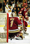 9 January 2009: Boston College Eagles' goaltender John Muse, a Sophomore from East Falmouth, MA, gives up a second period goal during the first game of a weekend series against the University of Vermont Catamounts at Gutterson Fieldhouse in Burlington, Vermont. The Catamounts scored with one second remaining in regulation time to earn a 3-3 tie with the visiting Eagles. Mandatory Photo Credit: Ed Wolfstein Photo