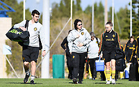 20190228 - LARNACA , CYPRUS : Belgian physical trainer Gil Benedetti , assistant coach Tamara Cassimon and Davinia Vanmechelen pictured during a Matchday -1 training from The Belgian Red Flames prior to their game against the women team of Austria , on Thursday 28 February 2019 at the Alpha Sports Grounds in Larnaca , Cyprus . This will be the second game in group C for Belgium during the Cyprus Womens Cup 2019 , a prestigious women soccer tournament as a preparation on the European Championship 2021 qualification duels. PHOTO SPORTPIX.BE | DAVID CATRY