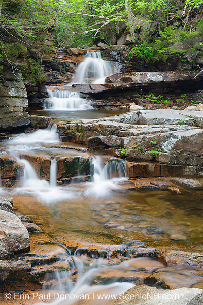 Bemis Brook Falls on Bemis Brook in Harts Location, New Hampshire USA during the spring months. This area is part of Crawford Notch State Park.