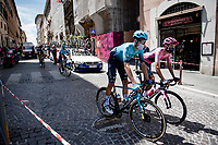 """Maglia Rosa / Pink Jersey / GC Leader Egan Bernal (COL/Ineos Grenadiers) at the race start in Perugia<br /> <br /> 104th Giro d'Italia 2021 (2.UWT)<br /> Stage 11 from Perugia to Montalcino (162km)<br /> """"the Strade Bianche stage""""<br /> <br /> ©kramon"""
