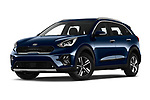Stock pictures of low aggressive front three quarter view of 2020 KIA Niro More 5 Door Hatchback Low Aggressive
