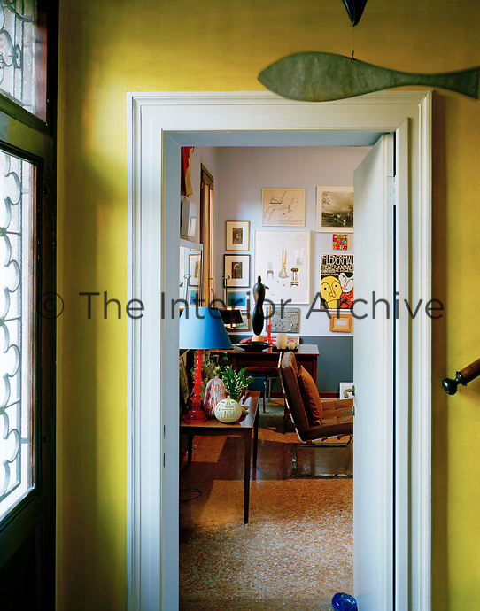 A view through to the eclectic sitting room in Lars Rachen's Venetian apartment