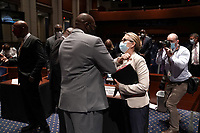 Philonise Floyd, brother of George Floyd, elbow bumps United States Representative Madeleine Dean (Democrat of Pennsylvania) after a US House Judiciary Committee hearing to discuss police brutality and racial profiling on Wednesday, June 10, 2020.<br /> Credit: Greg Nash / Pool via CNP/AdMedia
