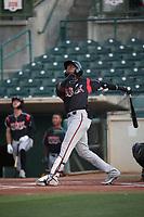 Jordy Barley (3) of the Lake Elsinore Storm bats against the Inland Empire 66ers at San Manuel Stadium on June 15, 2021 in San Bernardino, California. (Larry Goren/Four Seam Images)