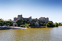 """Pictured: General view of the pond by Pembroke Castle, west Wales, UK. Sunday 08 July 2018<br /> Re: A vicious killer swan is prowling around Pembroke, determined to see off any threat to his territory by ruthlessly drowning his victims.<br /> So far, he has killed 10 other swans, though many more have been saved from his attacks.<br /> Dubbed by locals """"Mr Nasty""""  lives on the Castle Pond by Pembroke Castle. <br /> Bird sanctuary worker Maria Evans says she has watched him at work, drowning other swans, breaking their feet or pushing them over a sluice.<br /> In 2010, another killer swan dubbed """"Hannibal"""" had his wings clipped after attacking other swans in the same pond."""
