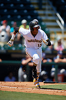 Bradenton Marauders shortstop Alfredo Reyes (13) runs to first base during a game against the Charlotte Stone Crabs on April 9, 2017 at LECOM Park in Bradenton, Florida.  Bradenton defeated Charlotte 5-0.  (Mike Janes/Four Seam Images)