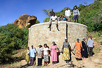 KENYA, ADS Anglican Development Services of Mount Kenya East, village Gichunguri, project water rock catchment, rain water harvest and storage in tanks for drought periods / Projekt Regenwasserauffang an einem Felsen und Speicherung in Tanks zur Nutzung in Duerreperioden