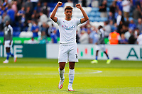 11th September 2021; King Power Stadium, Leicester, Leicestershire, England;  Premier League Football, Leicester City versus Manchester City; Rodri  of Manchester City celebrates victory after the final whistle