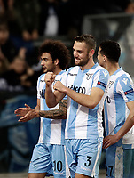 Europa League quarter-final 1st leg <br /> S.S. Lazio - FC Salzburg  Olympic Stadium Rome, April 5, 2018.<br /> Lazio's players celebrate after winning 4-2 the Europa League match between Lazio and Salzburg at Rome's Olympic stadium, April 5, 2018.<br /> UPDATE IMAGES PRESS/Isabella Bonotto