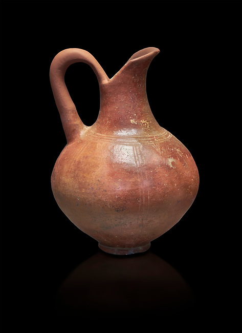 Small Cycladic amphora.  Early Cycladic III (2300-200 BC) , Phylakopi, Melos. National Archaeological Museum Athens. Cat No 5813. Black background.<br /> <br /> <br /> During this period pottery was plainer with simple geometric decorations. Depicts of birds or lowers were rare.