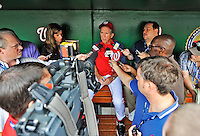 25 September 2011: Washington Nationals Manager Davey Johnson entertains questions from the media prior to a game against the Atlanta Braves at Nationals Park in Washington, DC. The Nationals shut out the Braves 3-0 to take the rubber match third game of their 3-game series - the Nationals' final home game for the 2011 season. Mandatory Credit: Ed Wolfstein Photo