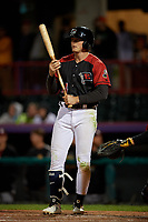 Erie SeaWolves Cam Gibson (14) at bat during an Eastern League game against the Altoona Curve on June 3, 2019 at UPMC Park in Erie, Pennsylvania.  Altoona defeated Erie 9-8.  (Mike Janes/Four Seam Images)