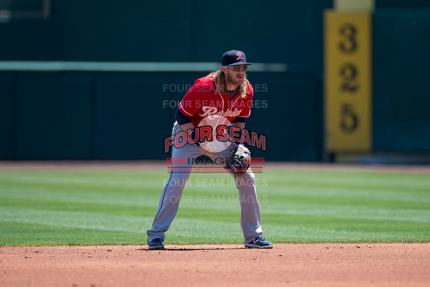 Tacoma Rainiers second baseman Taylor Motter (8) during a Pacific Coast League against the Sacramento RiverCats at Raley Field on May 15, 2018 in Sacramento, California. Tacoma defeated Sacramento 8-5. (Zachary Lucy/Four Seam Images)