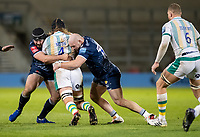 20th November 2020; AJ Bell Stadium, Salford, Lancashire, England; English Premiership Rugby, Sale Sharks versus Northampton Saints;  Alex Moon of Northampton Saints is tackled by  Bevan Rodd and Jake Cooper-Woolley of Sale Sharks