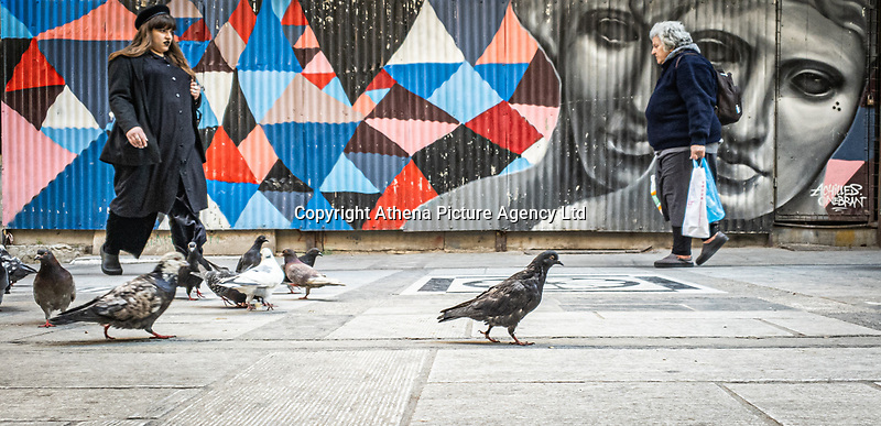 Pictured: Two womenwalk amongst pigeons.<br /> Re: Street photography, Athens, Greece. Thursday 27 February 2020