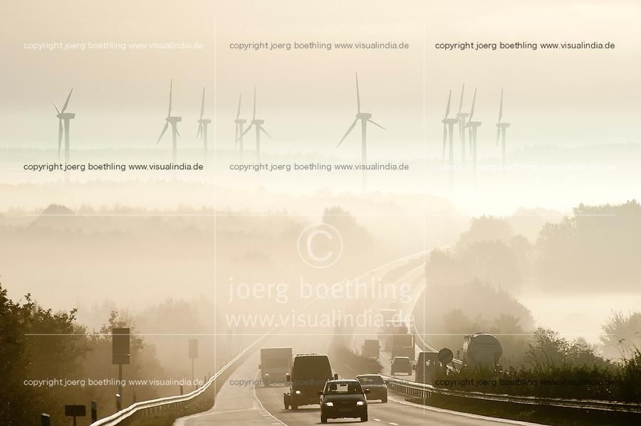 Deutschland Windpark und Autobahn Bruecke ueber den Nord-Ostsee-Kanal im Nebel | Europe Germany GER windfarm and highway in fog