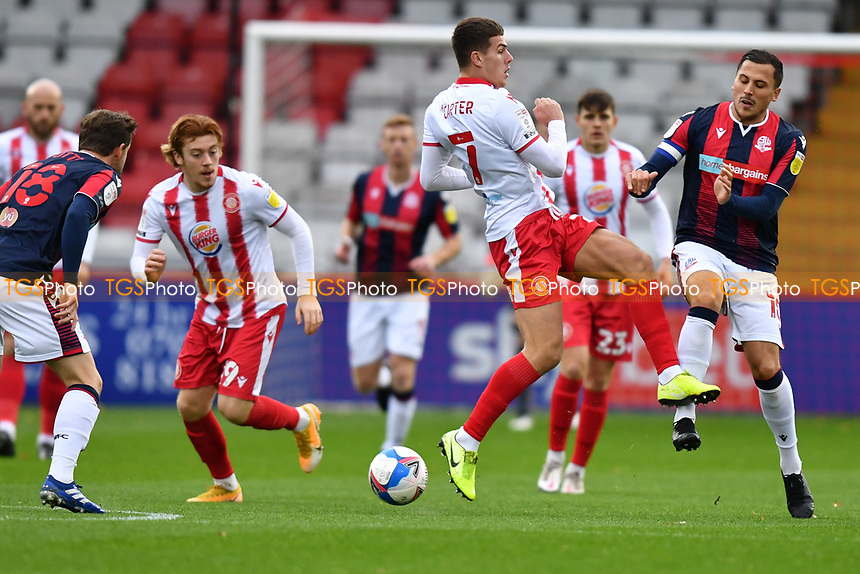 Charlie Carter of Stevenage FC and Antoni Sarcevic during Stevenage vs Bolton Wanderers, Sky Bet EFL League 2 Football at the Lamex Stadium on 21st November 2020