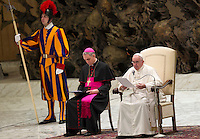 Papa Francesco tiene l'udienza generale del mercoledi' in aula Paolo VI, Citta' del Vaticano, 13 gennaio 2016.<br /> Pope Francis attends his weekly general audience in the Paul VI hall at the Vatican, 13 January 2016.<br /> UPDATE IMAGES PRESS/Riccardo De Luca<br /> <br /> STRICTLY ONLY FOR EDITORIAL USE