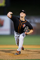 Delmarva Shorebirds relief pitcher Jake Bray (23) in action against the Kannapolis Intimidators at Kannapolis Intimidators Stadium on April 21, 2016 in Kannapolis, North Carolina.  The Intimidators defeated the Shorebirds 9-3.  (Brian Westerholt/Four Seam Images)