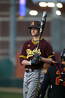 Ryan Lillard (5) of the Arizona Sun Devils throws up to bat during a game against the Southern California Trojans at Dedeaux Field on March 24, 2017 in Los Angeles, California. Southern California defeated Arizona State, 5-4. (Larry Goren/Four Seam Images)