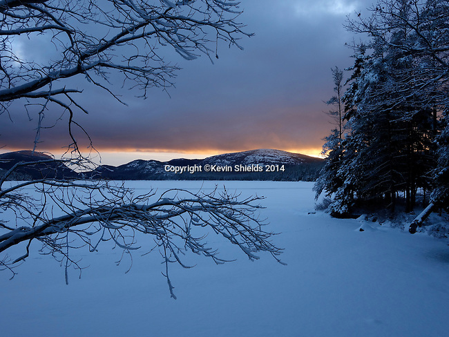 Winter view of Eagle Lake in Acadia National Park.  Acadia National Park, Hancock County, Maine, USA.