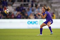 Orlando, FL - Saturday March 24, 2018: Orlando Pride midfielder Dani Weatherholt (17) heads the ball down during a regular season National Women's Soccer League (NWSL) match between the Orlando Pride and the Utah Royals FC at Orlando City Stadium. The game ended in a 1-1 draw.