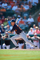 Detroit Tigers center fielder Daniel Woodrow (80) follows through on a swing during a Grapefruit League Spring Training game against the Baltimore Orioles on March 3, 2019 at Ed Smith Stadium in Sarasota, Florida.  Baltimore defeated Detroit 7-5.  (Mike Janes/Four Seam Images)