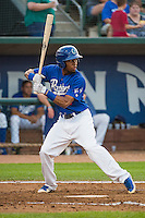 Deion Ulmer (3) of the Ogden Raptors at bat against the Helena Brewers in Pioneer League action at Lindquist Field on August 19, 2015 in Ogden, Utah. Ogden defeated Helena 4-2. (Stephen Smith/Four Seam Images)