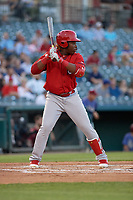 Springfield Cardinals Johan Mieses (41) bats during a Texas League game against the Frisco RoughRiders on May 7, 2019 at Dr Pepper Ballpark in Frisco, Texas.  (Mike Augustin/Four Seam Images)