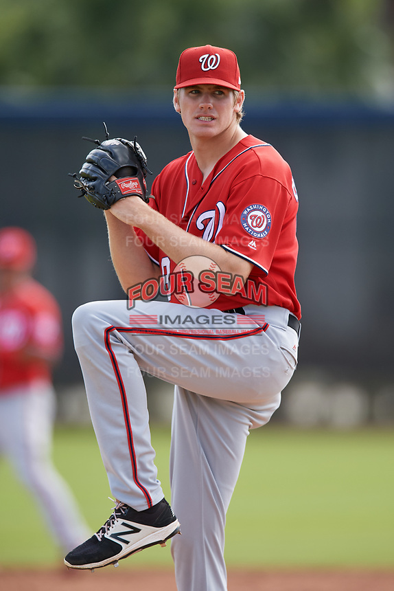 Washington Nationals pitcher James Bourque (38) doing pitching drills before a Minor League Spring Training game against the Miami Marlins on March 28, 2018 at FITTEAM Ballpark of the Palm Beaches in West Palm Beach, Florida.  (Mike Janes/Four Seam Images)