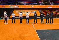 Den Bosch, The Netherlands, April 15, 2021,    Maaspoort, Billy Jean King Cup  Netherlands -  China : Draw , Dutch and  Chinese team<br /> Photo: Tennisimages/Henk Koster