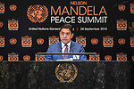 Opening Plenary Meeting of the Nelson Mandela Peace Summit<br /> <br /> His Excellency Nasser BOURITAMinister for Foreign Affairs and InternationalCooperation of Morocco