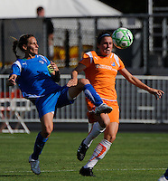 Kristine Lilly (13) of the Boston Breakers and Heather O'Reilly (9) of Sky Blue FC. Sky Blue FC defeated the Boston Breakers 1-0 during a Women's Professional Soccer match at Yurcak Field in Piscataway, NJ, on July 4, 2009.