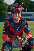Lowell Spinners catcher Jaxx Groshans (12) poses for a photo before a NY-Penn League game against the Batavia Muckdogs on July 10, 2019 at Dwyer Stadium in Batavia, New York.  Batavia defeated Lowell 8-6.  (Mike Janes/Four Seam Images)