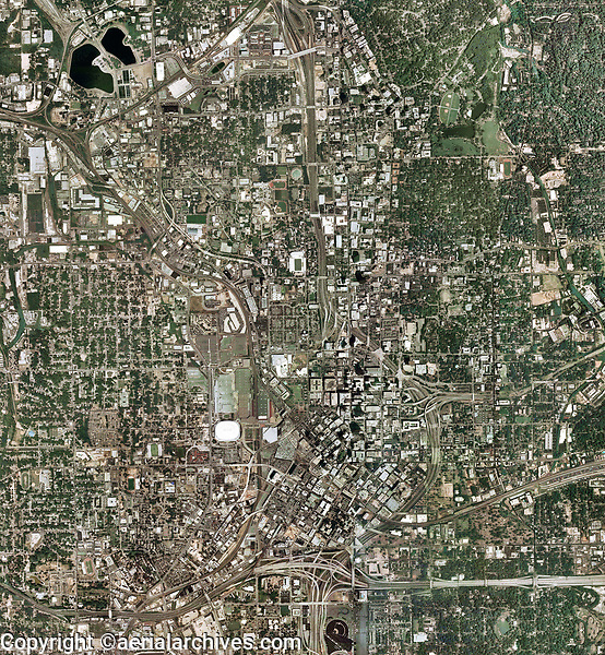 aerial map of downtown Atlanta, Georgia, 2007.  For more recent aerial photo maps of Atlanta, please contact Aerial Archives