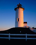 Cape Cod National Seashore, MA: Nobska Point Light (1876) at dawn above Woods Hole on Nantucket Sound
