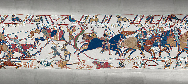 Bayeux Tapestry scene 54: Bishop Odo, holding club, urges Norman cavalry against the Saon soldiers on a hill at the Battle of Hastings.