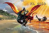 Interlitho, Jason, FANTASY, paintings, dragon, beach, wreck, KL, KL4059,#fantasy# illustrations, pinturas