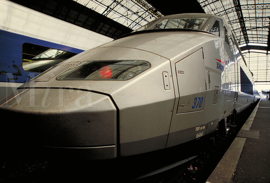 French High Speed Train at Bordeaux Train Station. transportation, railroads. Bordeaux, France.