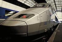 French High Speed Train at Bordeaux Train Station. transportation, railroads. Bordeaux, France.