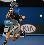 Novak Djokovic (SRB) loses to Stanislaus Wawrinka (SUI) 2-6, 6-4, 6-2, 3-6, 9-7 at the Australian Open in Melbourne, Australia on January 21, 2014.
