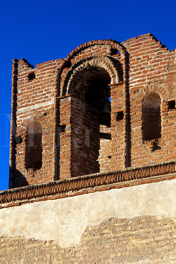 Facade bell tower Tumacacori Mission National Monument in Tubac Arizona