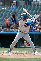 Midland RockHounds Nate Mondou (10) bats during a Texas League game against the Frisco RoughRiders on May 21, 2019 at Dr Pepper Ballpark in Frisco, Texas.  (Mike Augustin/Four Seam Images)