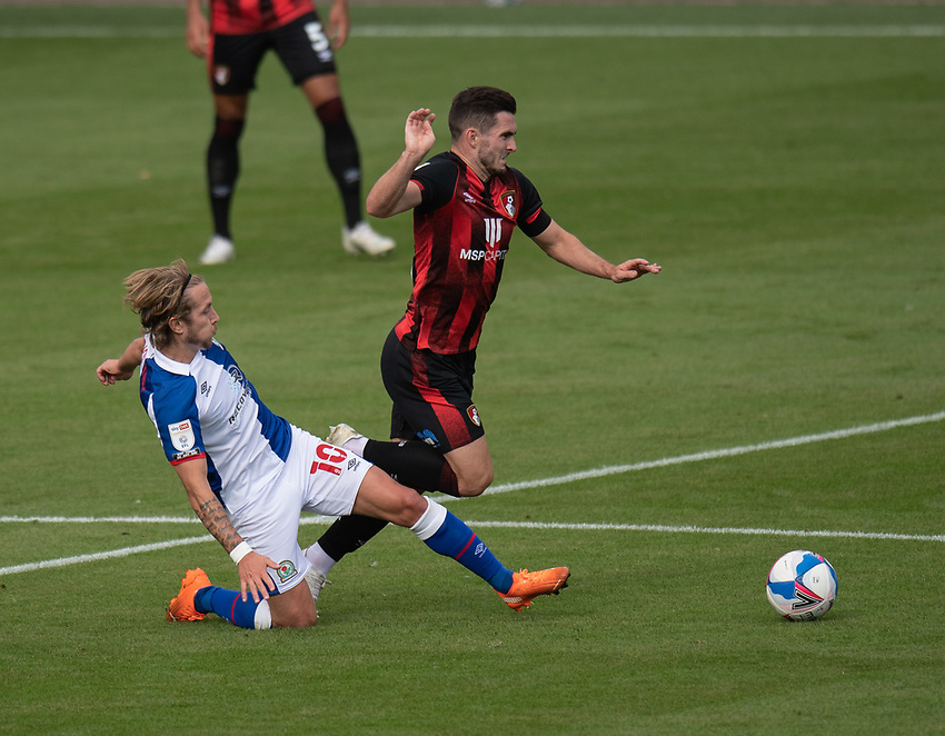 Blackburn Rovers' Lewis Holtby (left) tackle brings down Bournemouth's Lewis Cook (right) <br /> <br /> Photographer David Horton/CameraSport <br /> <br /> The EFL Sky Bet Championship - Bournemouth v Blackburn Rovers - Saturday September 12th 2020 - Vitality Stadium - Bournemouth<br /> <br /> World Copyright © 2020 CameraSport. All rights reserved. 43 Linden Ave. Countesthorpe. Leicester. England. LE8 5PG - Tel: +44 (0) 116 277 4147 - admin@camerasport.com - www.camerasport.com