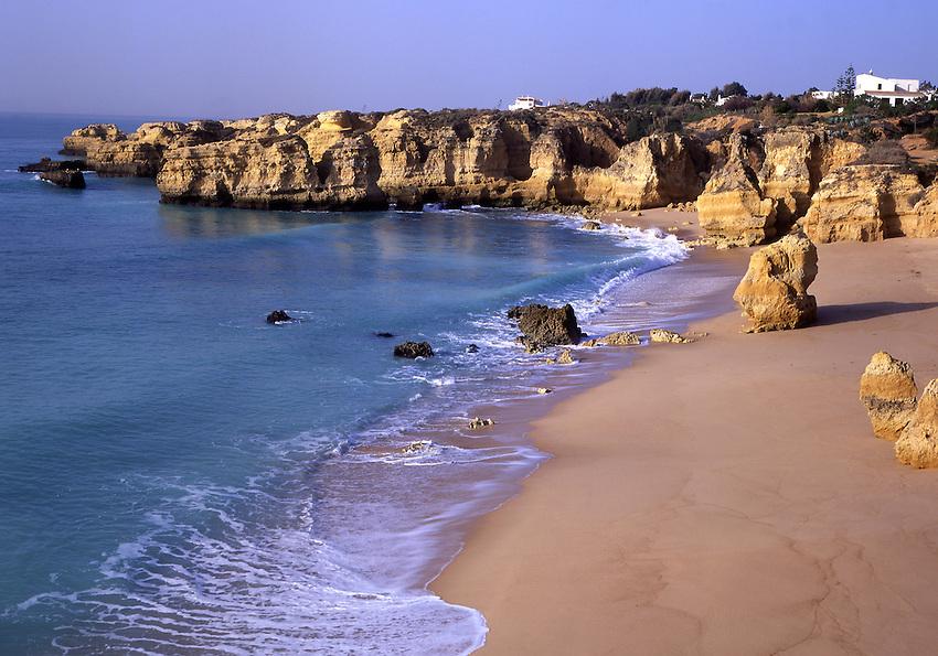 Europe, PRT, Portugal, Algarve, Albufeira, Landscape, Typical Coast, Beach in the Morning