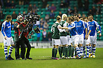 Hibs v St Johnstone.....11.02.13      SPL.ESPN TV cameras film the players shaking hands before kick off.Picture by Graeme Hart..Copyright Perthshire Picture Agency.Tel: 01738 623350  Mobile: 07990 594431